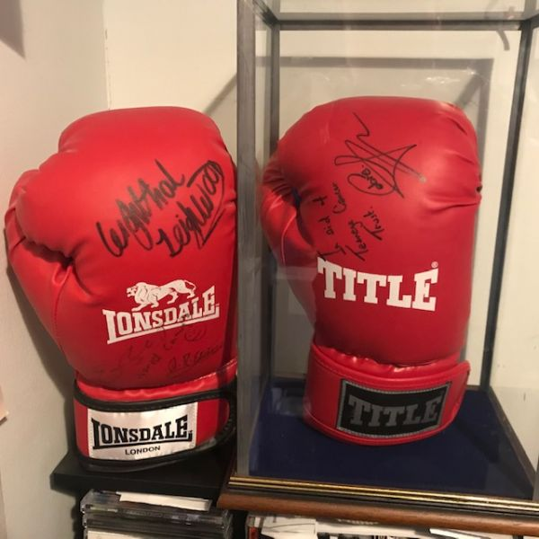 Nottingham Boxers signed gloves we won  via auction for the Teenage Cancer Trust charity.... let's beat the big C together: Swipe To View More Images